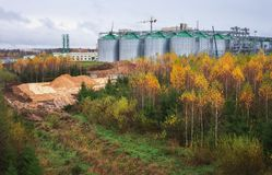 Construction Natural Gas storage tanks and oil tank Stock Images
