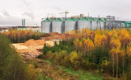 Construction Natural Gas storage tanks and oil tank Royalty Free Stock Photo