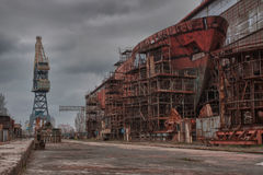 Construction navale, réparation de bateau Images stock
