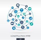 Construction network. Abstract background with lines, circles, and integrated flat icons. Connected symbols for build, industry, architectural, engineering Stock Photo
