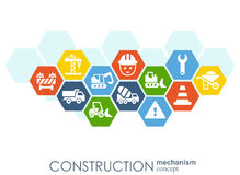 Construction network. Hexagon abstract background with lines, polygons, and integrated flat icons. Connected symbols for. Build, industry, architectural Royalty Free Stock Photos