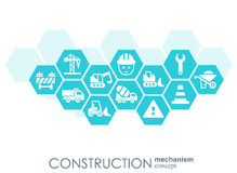 Construction network. Hexagon abstract background with lines, polygons, and integrated flat icons. Connected symbols for. Build, industry, architectural Royalty Free Stock Images
