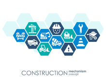 Construction network. Hexagon abstract background with lines, polygons, and integrated flat icons. Connected symbols for. Build, industry, architectural Stock Photos