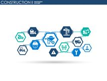 Construction network. Hexagon abstract background with lines, polygons, and integrated flat icons. Connected symbols for build, in. Dustry, architectural Stock Photo