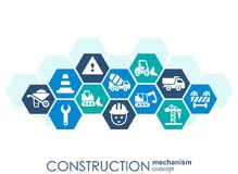 Construction network. Hexagon abstract background with lines, polygons, and integrated flat icons. Connected symbols for build, in. Dustry, architectural Royalty Free Stock Photography