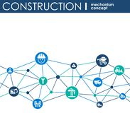 Construction network. Hexagon abstract background with lines, polygons, and integrated flat icons. Connected symbols for build, in. Dustry, architectural Stock Photography