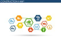 Construction network. Hexagon abstract background with lines, polygons, and integrated flat icons. Connected symbols for build, in. Dustry, architectural Stock Images