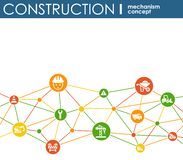 Construction network. Hexagon abstract background with lines, polygons, and integrated flat icons. Connected symbols for build, in. Dustry, architectural Royalty Free Stock Image