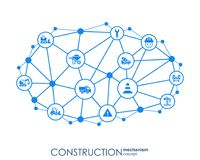 Construction network. Hexagon abstract background with lines, polygons, and integrated flat icons. Connected symbols for. Build, industry, architectural vector illustration