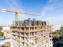 Construction of new apartment building. construction site with t royalty free stock photography