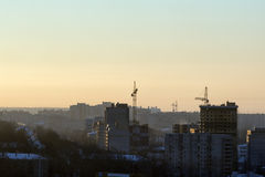 Construction of new apartment buildings in morning Royalty Free Stock Photo