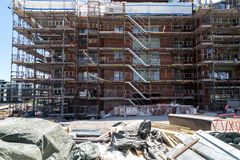 Construction of new apartments with building materials Royalty Free Stock Image