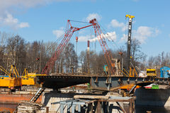 Construction of the new bridge Royalty Free Stock Photography
