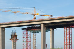 Construction of a new bridge Royalty Free Stock Photography