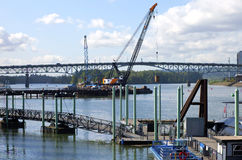 Construction of a new bridge. Construction of a new bridge, Portland Oregon royalty free stock image