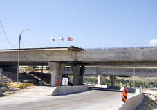 Construction of new bridge. Road and a bridge under Construction Royalty Free Stock Photo