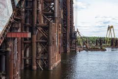Construction of the new bridge across the Dnieper in Kyiv Stock Photo