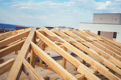 construction of new building, Timber and beam details of roof system Royalty Free Stock Photo
