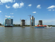 Construction of new buildings on the river Ob Stock Image