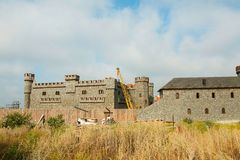 Construction of new castle royalty free stock photography