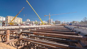 Construction of a new circular metro line. Russia stock footage
