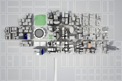 Construction of a new city from above view. 3d rendering Stock Image