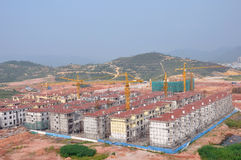 Construction of the new city in China. New residential construction in progress Royalty Free Stock Photos