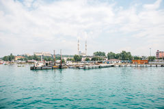 Construction of a new dock and a seaport for the transport of people and goods in Istanbul in Turkey. Royalty Free Stock Images
