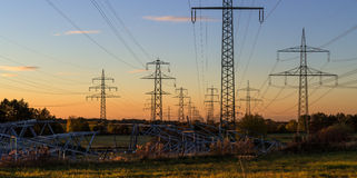 Construction of new electricity pylons Royalty Free Stock Photography