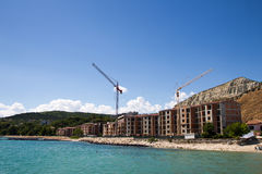 Construction of new elite housing on the sea Royalty Free Stock Photos
