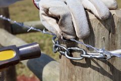 Construction of new fence Royalty Free Stock Image