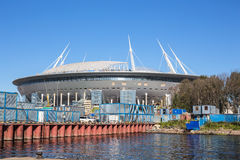 The construction of the new football Krestovsky Stadium in St. Petersburg for the World Cup Stock Photo