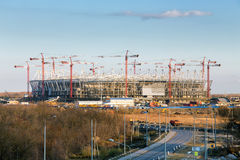 Construction of new football stadium in Rostov-on-Don. Russia Royalty Free Stock Image