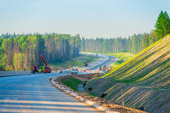 Construction of a new highway Royalty Free Stock Images