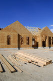 Construction of New Home. New home being built and detail of construction site Stock Photos