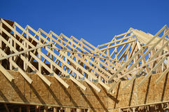 Construction of New Home. New home being built and detail of construction site Stock Images