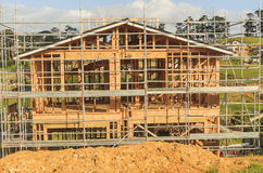 Construction of new home building in New Zealand, Auckland Stock Images