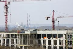 Construction of new homes. construction equipment in the spring royalty free stock images