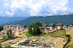 Construction of new hotels in the mountain Olympic village Stock Photography