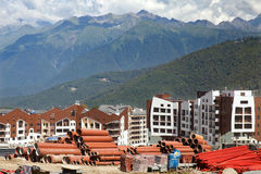 Construction of new hotels in mountains Stock Photography