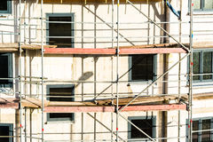 Construction of new house with scaffolding Stock Images