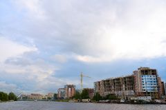 Construction of new houses about embankment in St. Petersburg, Russia Royalty Free Stock Images