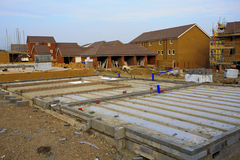 Construction of new houses with foundations Royalty Free Stock Image