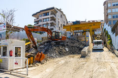 Construction of a new metro line in Istanbul. Royalty Free Stock Photography