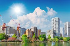 Construction new modern city with green park. Space for good environment Royalty Free Stock Photography