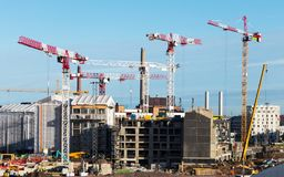 Construction of new modern residential micro-district royalty free stock images