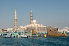 Construction of New Mosque. Building of New Mosque in Hurghada, Egypt, view from the sea Royalty Free Stock Photos