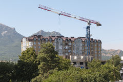 Construction of a new multistory apartment house in Pyatigorsk, Stock Photos