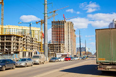 Construction of a new neighborhood in the city Royalty Free Stock Image