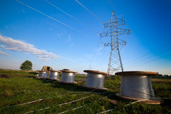 Construction of new power line Stock Image